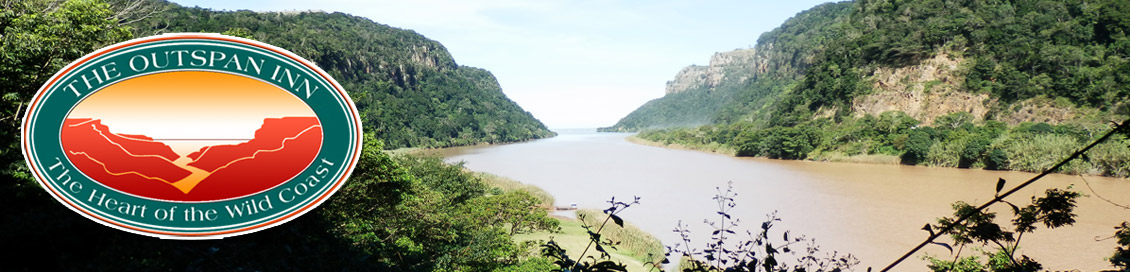 A view of the Mzimvubu River, with Port St Johns in the distance