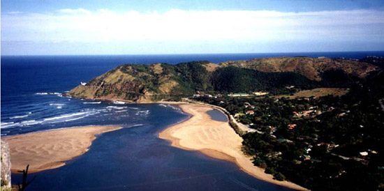 An aerial view of Port St Johns.
